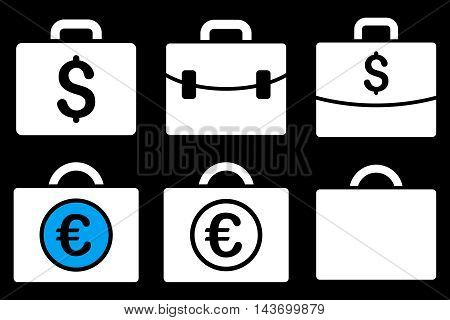 Business Case glyph icons. Pictogram style is bicolor blue and white flat icons with rounded angles on a black background.