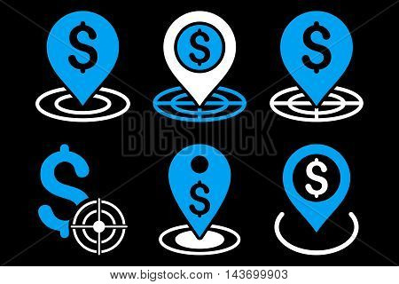 Business Goal glyph icons. Pictogram style is bicolor blue and white flat icons with rounded angles on a black background.