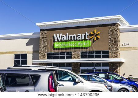 Indianapolis - Circa August 2016: Walmart Retail Location. Walmart is an American Multinational Retail Corporation VII