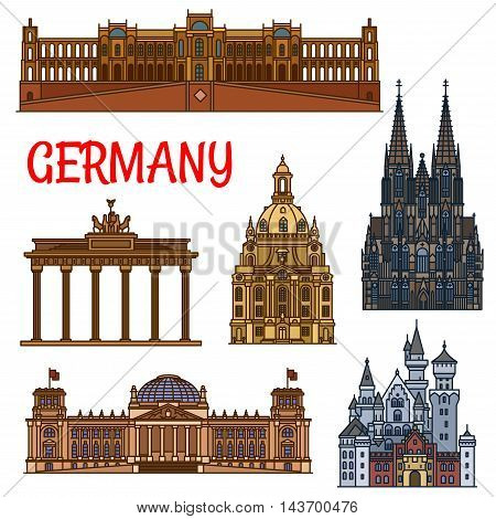 Historic sightseeings and buildings of Germany. Vector icons of Brandenburg Gate, Reichstag, Neuschwanstein Castle, Cologne Cathedral, Frauenkirche, Maximilianeum. German showplaces symbols for souvenirs, postcards, t-shirts, magnets