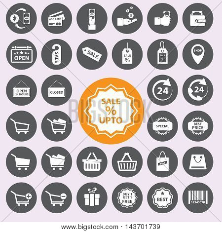 Shopping sign and symbol  icons set. Vector/EPS10.