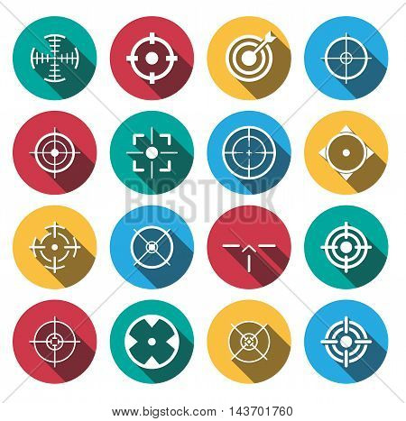 flat shadow crosshairs icon set. vector illustration