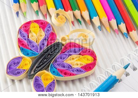 Colorful Pencils With Drawing And Writing Equipment