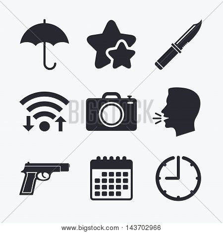 Gun weapon icon.Knife, umbrella and photo camera signs. Edged hunting equipment. Prohibition objects. Wifi internet, favorite stars, calendar and clock. Talking head. Vector