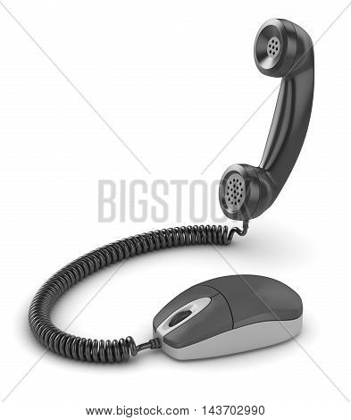 Mouse with handset This is a 3d computer generated image. Isolated on white.