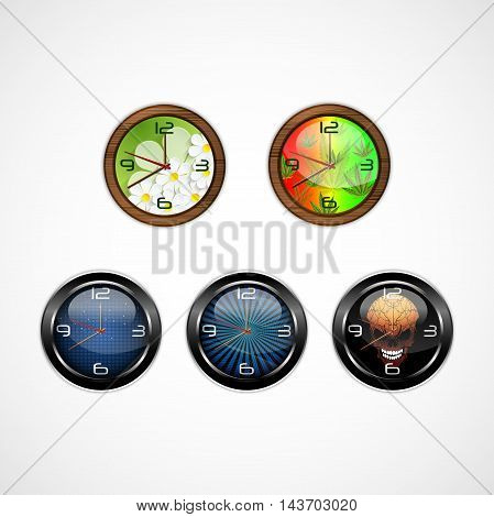 Illustration of Analog round wall clocks isolated on white