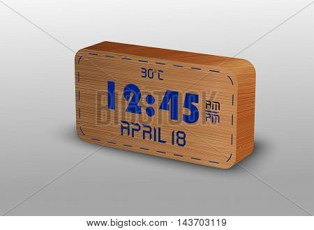 Illustration of Digital Clock made texture wooden
