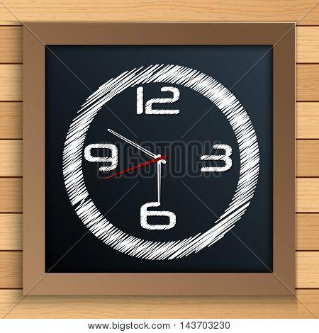 Illustration of Wall clock written by color chalk on blackboard