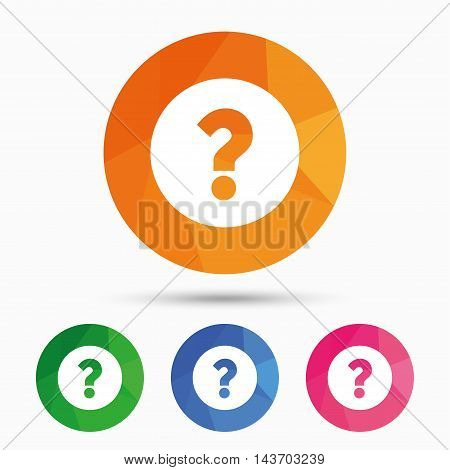 Question mark sign icon. Help symbol. FAQ sign. Triangular low poly button with flat icon. Vector
