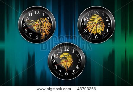 Illustration of Black Wall clock analog abstract background