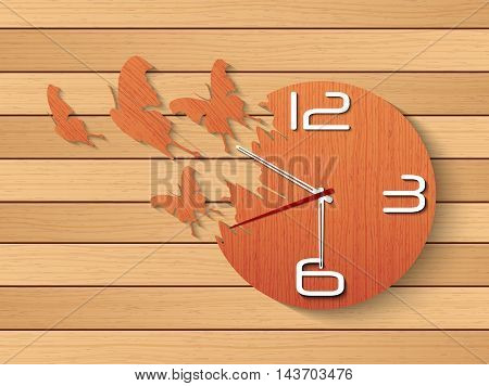 Illustration of Wall clock with flying butterfly