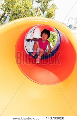 Asian Little Chinese Girl Sliding