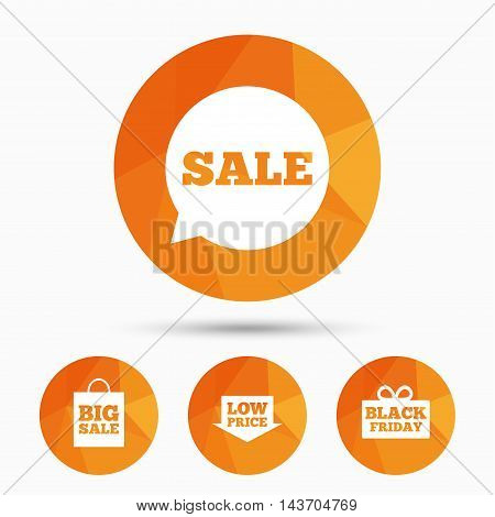 Sale speech bubble icon. Black friday gift box symbol. Big sale shopping bag. Low price arrow sign. Triangular low poly buttons with shadow. Vector