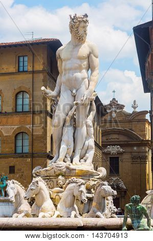 Neptune Fountain In Florence, Italy