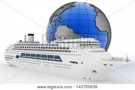 Luxury cruise ship on globe background. 3d render illustration