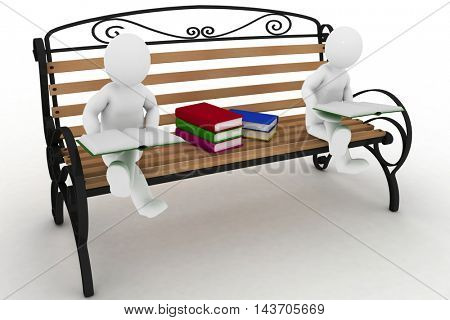 Two students are sitting on a bench and  read of books. 3d illustration on a white background.