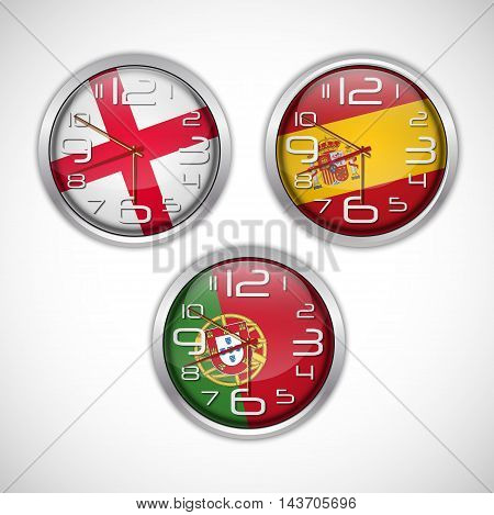 Illustration of Nations wall clocks of flag