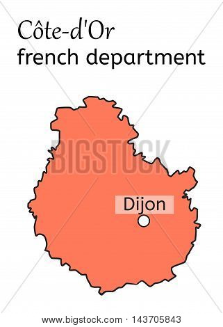 Cote-dOr french department map on white in vector