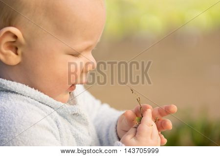 Baby playing with grass and dirt feeling different textures
