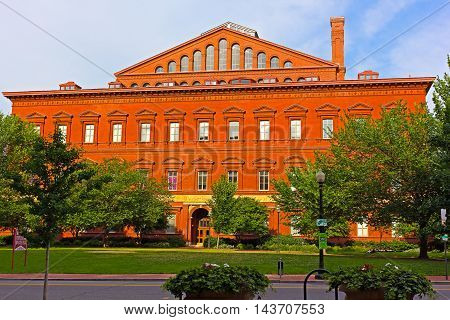 National Building Museum in Washington DC USA. Italian Renaissance Revival architecture of the museum building.