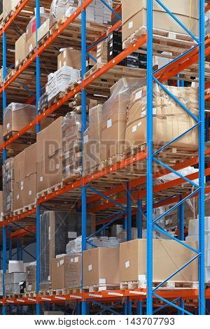 Shelving System With Goods in Distribution Warehouse