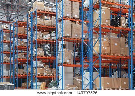 High Rack Shelves in Distribution Center Warehouse