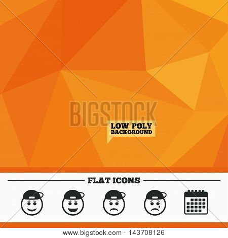 Triangular low poly orange background. Rapper smile face icons. Happy, sad, cry signs. Happy smiley chat symbol. Sadness depression and crying signs. Calendar flat icon. Vector