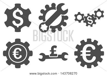 Financial Settings vector icons. Pictogram style is gray flat icons with rounded angles on a white background.