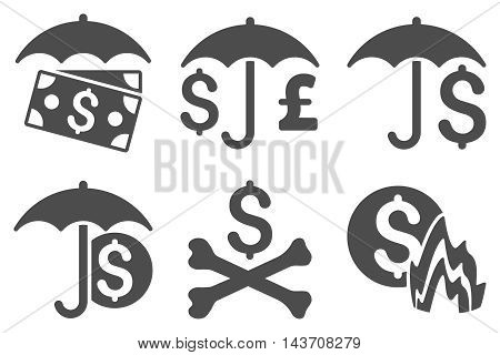 Financial Umbrella vector icons. Pictogram style is gray flat icons with rounded angles on a white background.