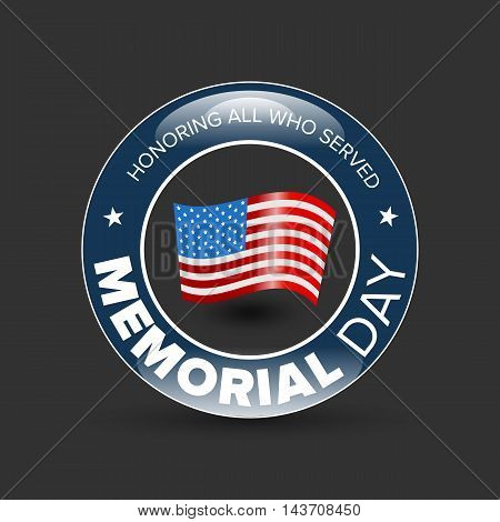 Memorial day badge with USA flag on black background