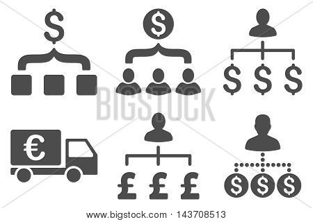 Payment Collector vector icons. Pictogram style is gray flat icons with rounded angles on a white background.