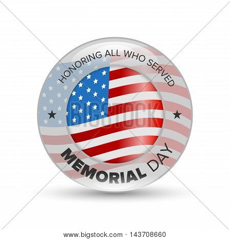 Memorial day badge with USA flag on white background