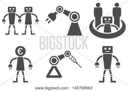 Robotics vector icons. Pictogram style is gray flat icons with rounded angles on a white background.