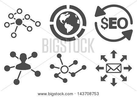 Seo Link Building vector icons. Pictogram style is gray flat icons with rounded angles on a white background.