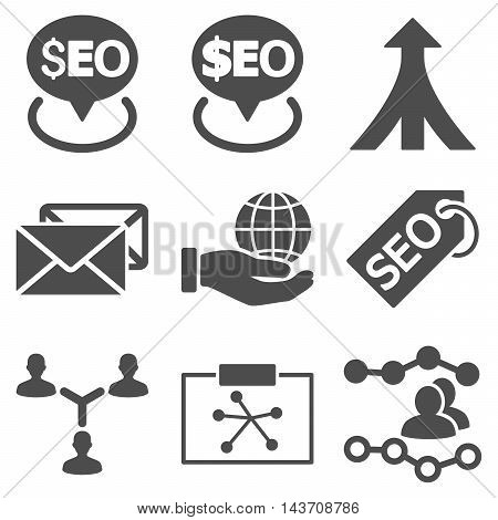 Seo vector icons. Pictogram style is gray flat icons with rounded angles on a white background.