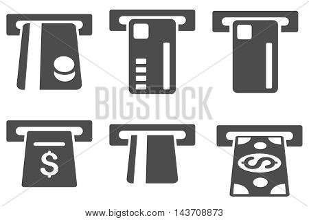 Ticket Terminal vector icons. Pictogram style is gray flat icons with rounded angles on a white background.