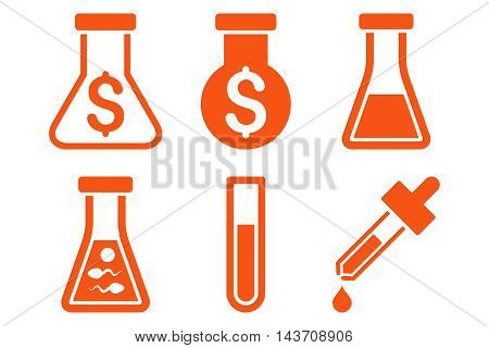 Alchemy vector icons. Pictogram style is orange flat icons with rounded angles on a white background.
