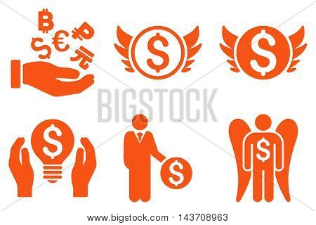 Angel Investor vector icons. Pictogram style is orange flat icons with rounded angles on a white background.