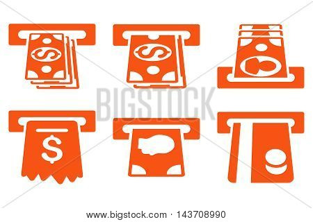 ATM Cashpoint vector icons. Pictogram style is orange flat icons with rounded angles on a white background.