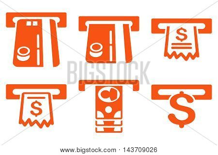 ATM Slot vector icons. Pictogram style is orange flat icons with rounded angles on a white background.