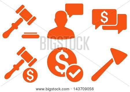 Auction vector icons. Pictogram style is orange flat icons with rounded angles on a white background.