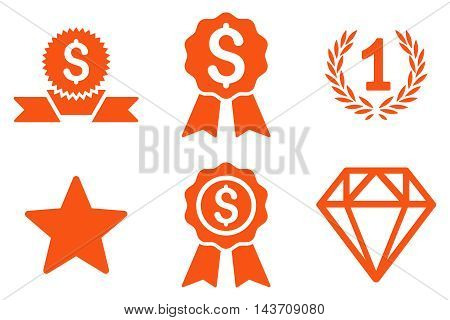 Award vector icons. Pictogram style is orange flat icons with rounded angles on a white background.