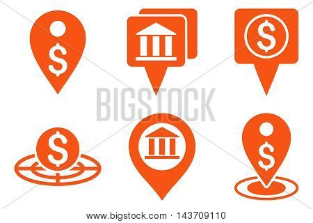 Bank Location vector icons. Pictogram style is orange flat icons with rounded angles on a white background.