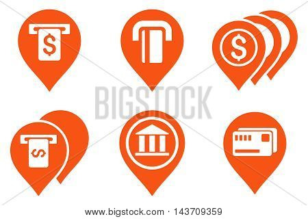 Banking ATM Pointers vector icons. Pictogram style is orange flat icons with rounded angles on a white background.