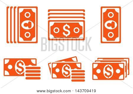 Banknotes vector icons. Pictogram style is orange flat icons with rounded angles on a white background.