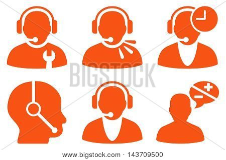Call Center Operator vector icons. Pictogram style is orange flat icons with rounded angles on a white background.