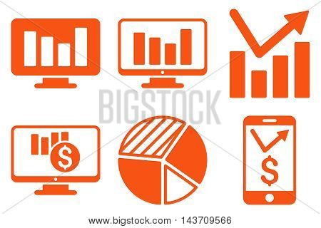 Chart Monitoring vector icons. Pictogram style is orange flat icons with rounded angles on a white background.