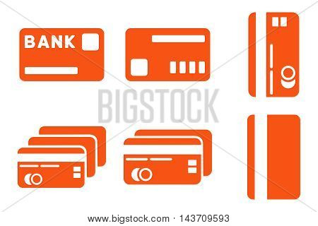 Credit Cards vector icons. Pictogram style is orange flat icons with rounded angles on a white background.