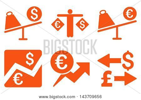 Currency Trading vector icons. Pictogram style is orange flat icons with rounded angles on a white background.
