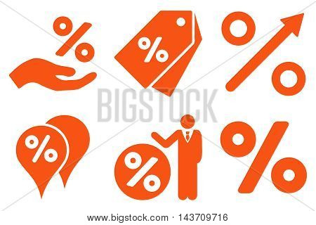 Discount Percent vector icons. Pictogram style is orange flat icons with rounded angles on a white background.